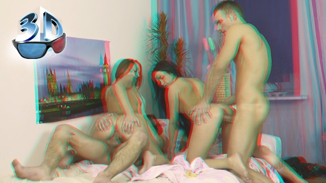 Друзья ебутся в 3D видео